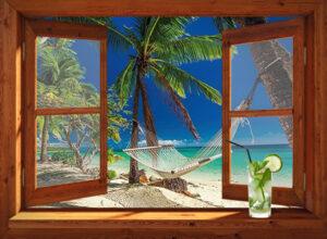 Open venster - winter - Tropische kerst in hangmat